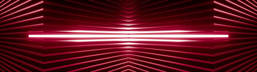 Geometric super wide background made of many red metal shelves with glowing light behind. Abstract symmetric industrial structure. 3d rendering Fotoväggar