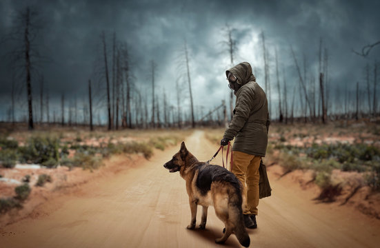 Stalker and dog, survivors after nuclear war