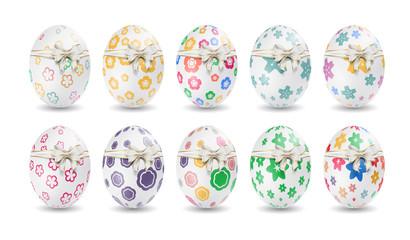 Colorful easter eggs vector graphic with ribbon and bow. Buntes Osterei mit Band und Bogen - fröhliche Ostern. Ostereier, Eier, Ostern, nebeneinander, farbig, bunt, gefärbte.