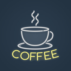 Glowing neon coffee sign. Vector illustration.