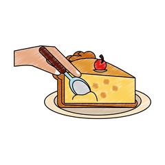 Cherry pie sliced icon vector illustration graphic design