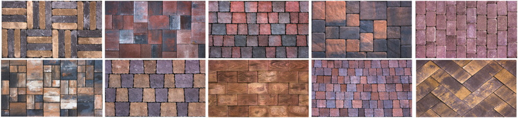 Collage sample of concrete paving slab for laying tracks