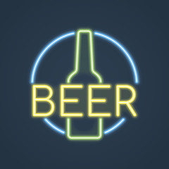 Glowing neon beer bottle, bar sign. Vector illustration.