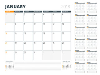 Calendar Planner for 2018 Year. Design Template. Week Starts on Sunday