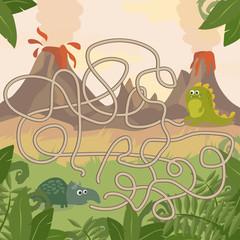 Educational Maze game. Help dinosaurs meet. Fun for preschool years children