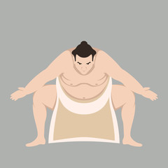 Sumo wrestler men vector illustration flat style front