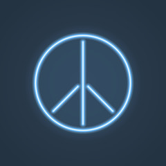 Glowing neon peace sign. Vector illustration.