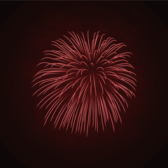Beautiful red firework. Bright firework isolated on black background. Light red decoration firework for Christmas, New Year celebration, holiday, festival, birthday card. Vector illustration