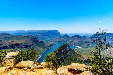 View of the highveld and the Blyde River Dam in the Blyde River Canyon Reserve, along the Panorama Route in Mpumalanga Province of South Africa
