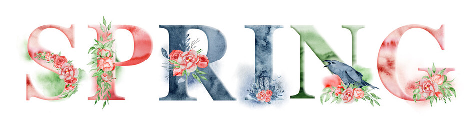 Spring watercolor word design with floral bouquets and crown. Hand drawn lettering, typography inscription. Inspiring label, greeting card, template, poster