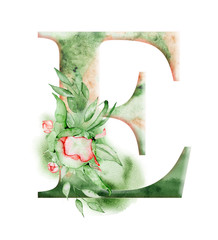 Floral watercolor alphabet. Monogram initial letter E design with hand drawn peony flower
