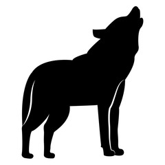 Vector image of silhouette of a wolf waving on a white background