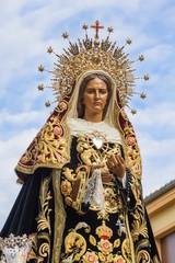 Talla de la Virgen de La Soledad en Procesion de Semana Santa. Leon. España