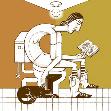 Woman with Dog Reading on the Toilet
