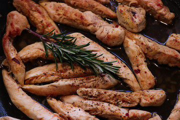 appetizing chicken strips freshly prepared and well spiced