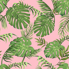 Seamless pattern with leaves of palm trees on a pink background
