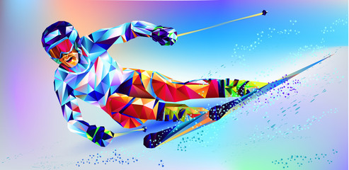 The polygonal colorful figure of a young man snowboarding with on a white and blue background. Vector illustration blue background in a geometric triangle of XXIII style Winter games