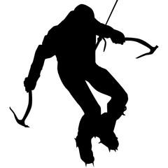 Ice climber in black