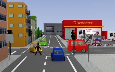 Stadtansicht mit roter Ampel, bunten Autos, Personen, Häusern und Geschäften. 3d render