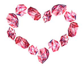 Watercolor diamonds heart