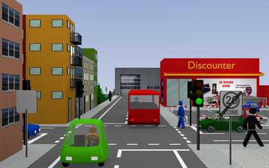 Stadtansicht mit Ampelkreuzung, bunten Autos, Personen, Häusern und Geschäften. 3d render