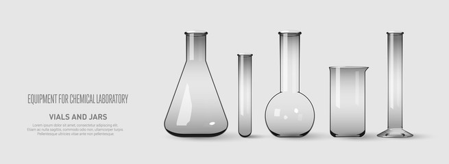 A set of flasks and test tubes. Equipment for chemical laboratory. Transparent glass test tubes Vector illustration