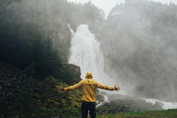 Man hiking at mountains landscape Travel Lifestyle wanderlust ad