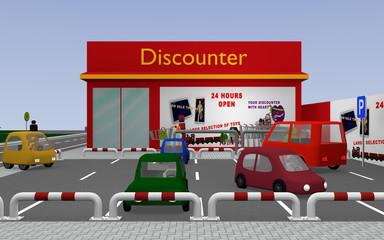 Discounter mit Parkplatz. 3d render