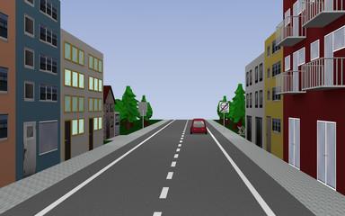 Straße mit Reihenhäusern, Auto und Straßenschild Ende Umweltzone. 3d render