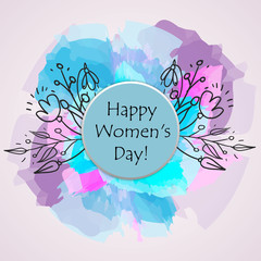Happy Woman s Day text as celebration badge, tag, icon. Text card invitation, template. Festivity background. Lettering typography poster.