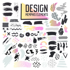 Abstract Memphis Style Design Elements Set. Hand Drawn Grunge Brush Collection for Patterns, Backgrounds, Brochure, Poster, Flyer, Cover. Vector illustration