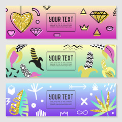 9ddc375028 Horizontal Banners Set with Gold Glitter Geometric Elements
