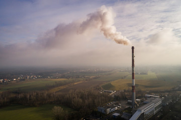 Fototapeta smog - dym z komina obraz