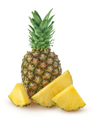 Whole and three slices of pineapple isolated on a white background