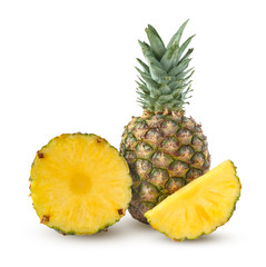 Whole, cut half and slice of pineapple isolated on a white background