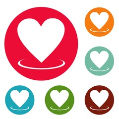 Heart icons circle set vector isolated on white background