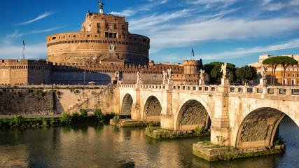 Ponte Sant Angelo in sunset light in Rome, Italy