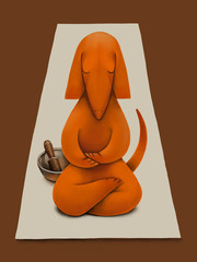 Dog in Seated Meditation with Singing Bowl