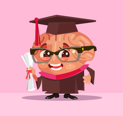 Smart brain graduate student character. Vector flat cartoon illustration