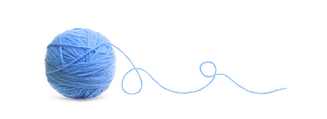 Blue ball of Threads wool yarn