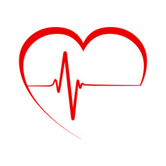 Heart pulse, one line, cardiogram - vector illustration