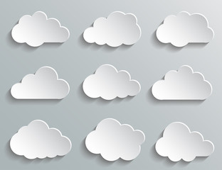 Set paper white clouds – stock vector