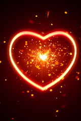 heart light with sparks background