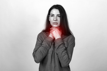 Young woman with sore throat  black and white with red accen