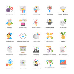 Project Management Flat Vector Icons Pack
