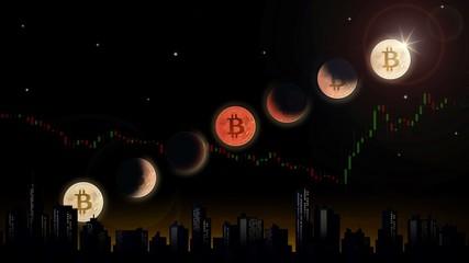 Bitcoin lunar eclipse, 3D Illustration concept.