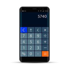 Smartphone With Calculator App, Vector realistic modern illustration