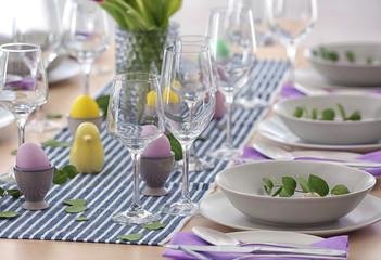 Fototapeta Beautiful festive Easter table setting