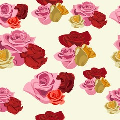 seamless pattern of red and yellow roses