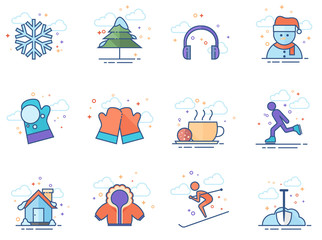 Winter icons in flat colors style. Vector illustration.